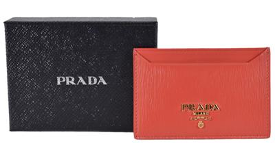 75f9b4c1 New Prada Women's 1MC208 Lacca Red Saffiano Leather Metal Card Case ...
