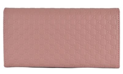 f5ae979a2d0 New Gucci Women s 449396 Soft Pink Leather Micro GG Continental ...