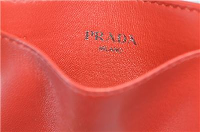4efca546 New Prada Women's 1MC208 Fuoco Red Ruched Leather Card Case ID Wallet