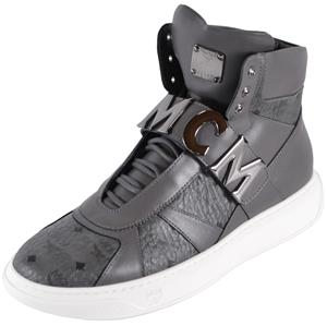 263f06b5fe4 Details about New MCM Men's Grey Leather Visetos Logo High Top Sneakers  Shoes W/Plaque 43 10