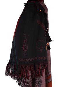 New Alexander McQueen $895 537789 DANCING BONES Skull Heavy Wool Scarf Shawl