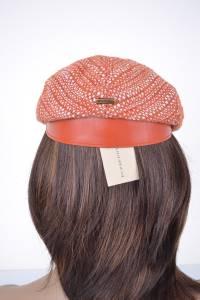 52b3ec75a17 NEW BURBERRY LYDIA BURNT ORANGE SUMMER TWEED FLAT CAP PEAK HAT~LARGE ...