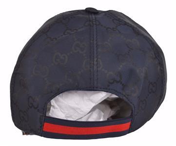 45d958b161d64 NEW Gucci Men s 387578 BLUE Nylon GG Guccissima Web Stripe Baseball ...