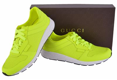 3a5982bfc NEW Gucci Men's Neon Yellow 369088 Tennis Sneakers Trainers Shoes 8 ...