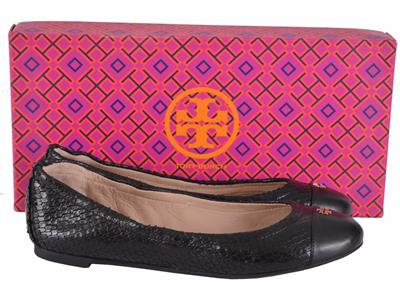 e9ba0b741b533f NEW Tory Burch Women s York Black Snake Print Cap Toe Logo Ballet ...
