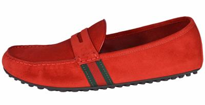 80f8a0d8d56 NEW Gucci Men s 407411 Red Suede Green Red Web Drivers Loafers Shoes ...