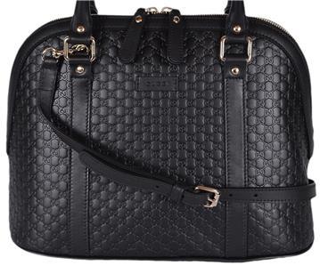 3c58d438f33 NEW Gucci 449663 Black Leather Medium Convertible Micro GG Dome ...