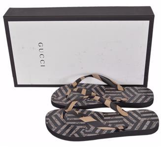 c541d7de19fee1 NEW Gucci Men s 283029 Bedlam Zebra Print GG Flip Flops Sandals ...