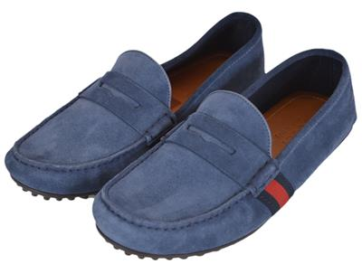 516eae98e9a NEW Gucci Men s 407411 Blue Suede Red Blue Web Drivers Loafers Shoes ...
