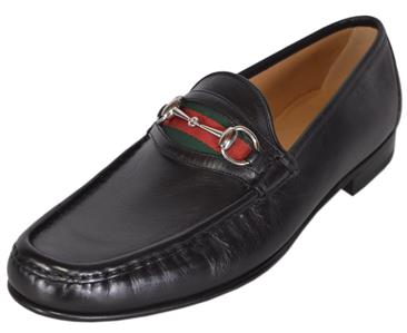 225f8dd8c15 NEW Gucci Men s 157440 Black Leather Red Green Web Horsebit Loafers ...