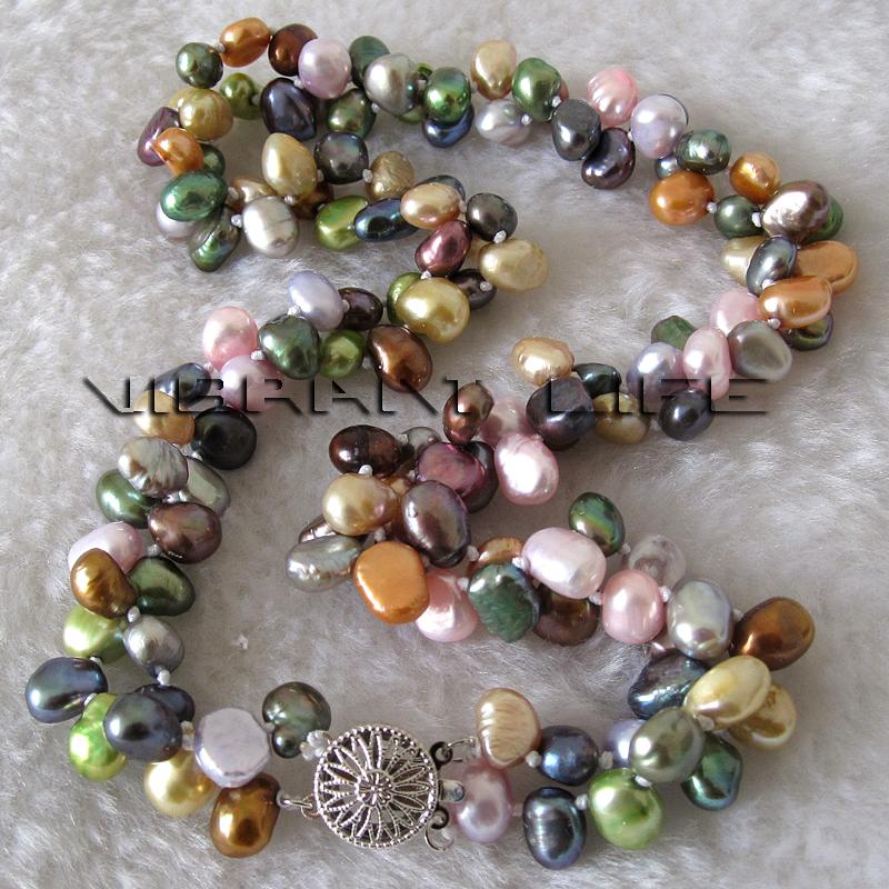 """Multi Row Pearl Necklace: 20"""" 7-8mm 2 Row Multi Color Baroque Freshwater Pearl"""