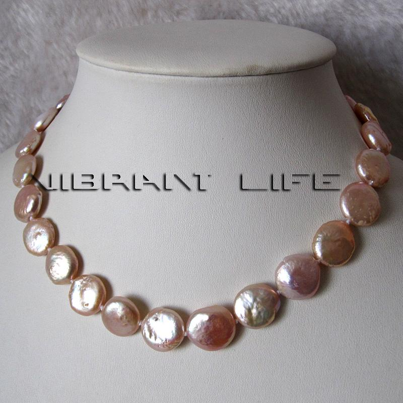 "Peach Pearl Necklace: 22"" 12-13mm Peach Pink Coin Freshwater Pearl Strand"