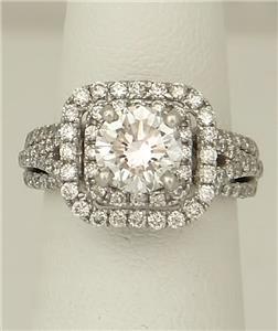 e83b2fc58e91 Jared 14k Oro Blanco 2.53ct Diamante Redondo Doble Halo Anillo de ...