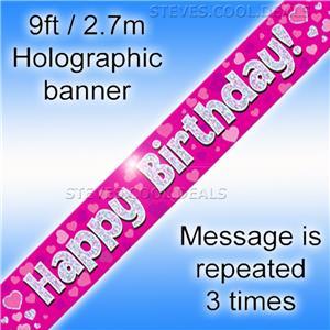 environ 2.74 m Joyeux 60th Anniversaire Holographique Fizz Black /& Gold Bannière 9 ft