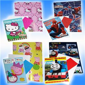 68d105528 Birthday cards Wrapping paper Gift tags Hello kitty Spiderman Thomas ...