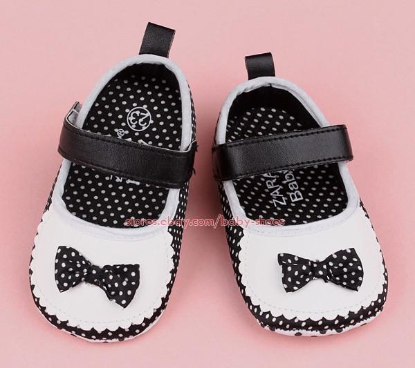 Infant Baby Girls Black White Mary Jane Bow Newborn Crib Shoes Size 0 3 Months