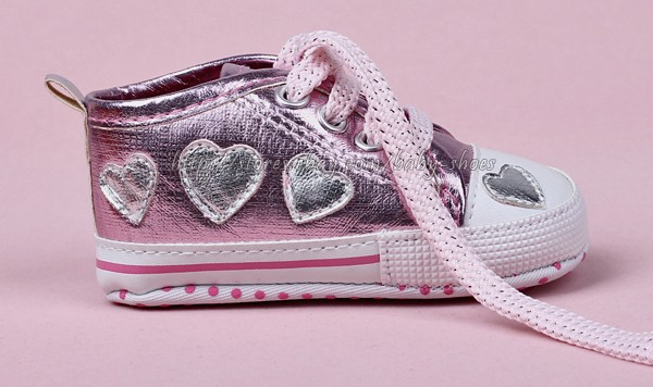 Toddler Baby Girls Boys Pink Lace Up Shoes Heart Sneakers Size 3 12 Months