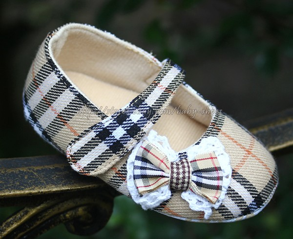 Newborn Reborn Baby Girl Plaid Soft Sole Shoes Bows Mary Jane Size 3 6 9 Months