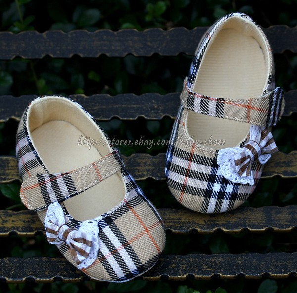Newborn Reborn Baby Girl Plaid Soft Sole Shoes Mary Jane Size 0 3 3 6 6 9 Months