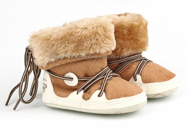 Toddler Baby Girls Boys Snow Boots Faux Fur Crib Shoes Size Newborn to 18 Months