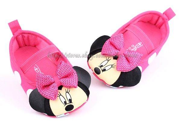 Baby Girls Minnie Mouse Soft Sole Crib Shoes Size Newborn to 18 Months