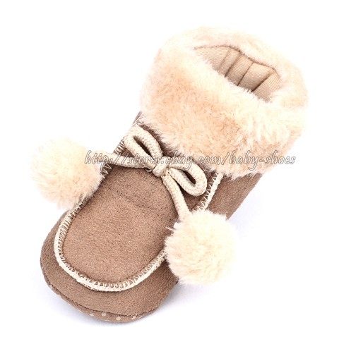 Baby Boy Girl Pink Leopard Brown Winter Boots Crib Shoes Size 3 6 6 9 9 12 Mons