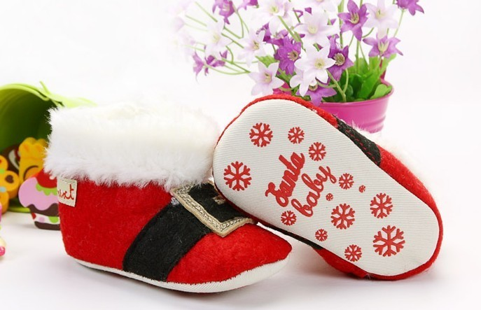 Toddler Baby Girls Boys Red Santa Claus Boots Christmas Crib Shoes Size 2 3 4