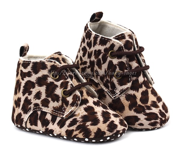 Baby Girl Leopard Soft Sole Crib Shoes Size Newborn to 18 Months