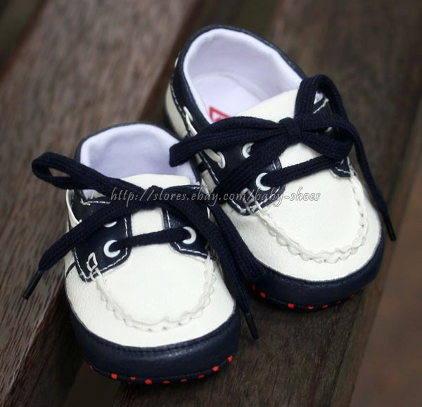 Navy White Toddler Baby Boy Boat Soft Sole Crib Shoes Newborn to 12 Months