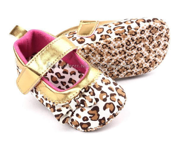 Baby Girl Leopard Gold Mary Jane Soft Sole Crib Shoes Size 1 2 3