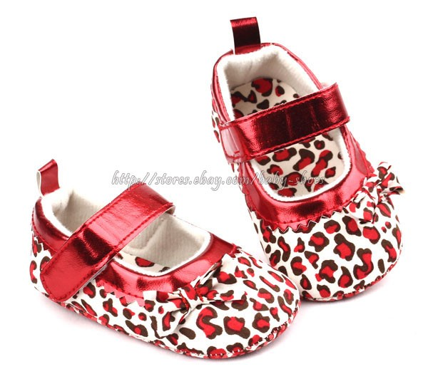 Baby Girl Leopard Red Mary Jane Soft Sole Crib Shoes Pre Walker Size 1 2 3