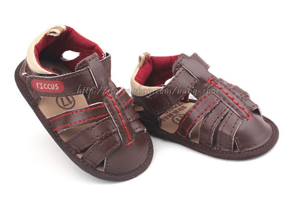 Baby Boy Chocolate Sandals Soft Sole Crib Shoes Size Newborn to 18 Months