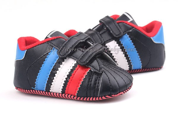 Baby Boy Black Stripes Soft Sole Crib Shoes Sneakers Size 0 6 6 12 12 18 Months