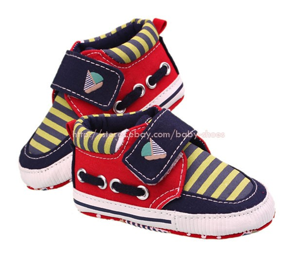Infant Baby Boy Strip Boat Shoes Soft Sole Crib Sneaker Newborn to 18 Months