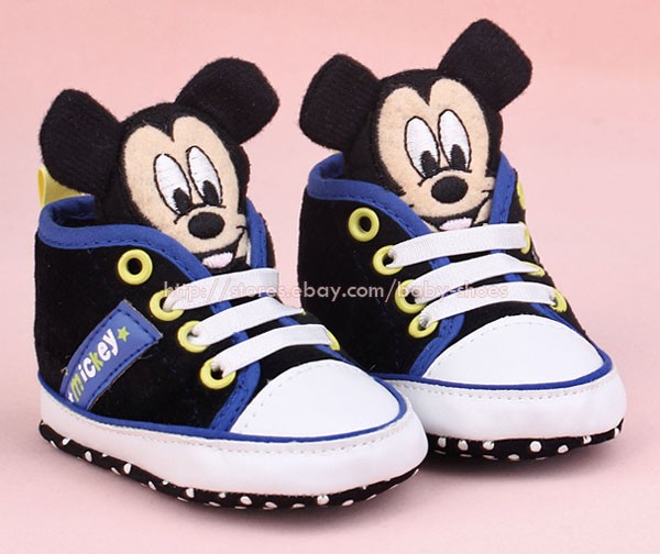 Baby Boy 3D Mickey Mouse Crib Shoes Soft Sole Sneakers Size Newborn to 18 Months