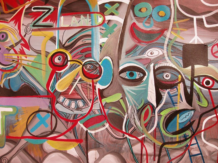 Original Abstract Modern Outsider Art Surreal Painting by Raeart