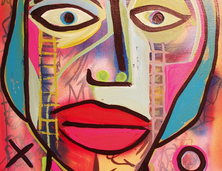 Original Abstract Face Art Painting by Raeart Defaced