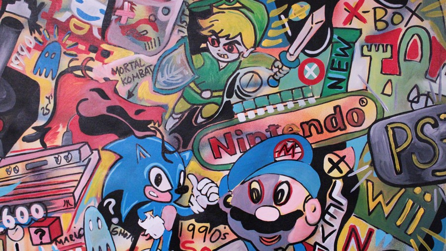 60 HUGE ABSTRACT Modern ART PAINTING the history of gaming by