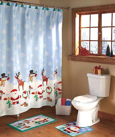 Bathroom Rugs Shower Curtains: Christmas Bath Set