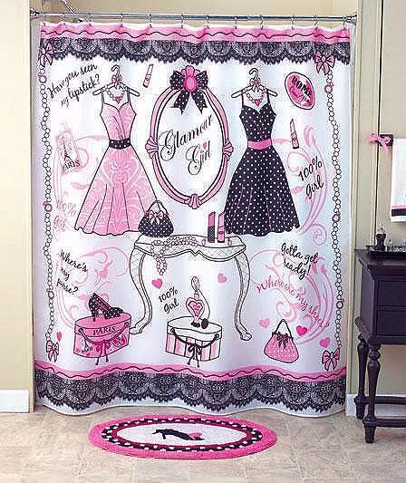 Unusual Bathroom Accessories: Unique Glamour Girl 6-Pcs Ladies' Room Set Shower Curtain