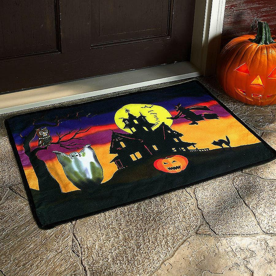 Scary Sounds Witches Cackling Halloween Doormat Rug Owl