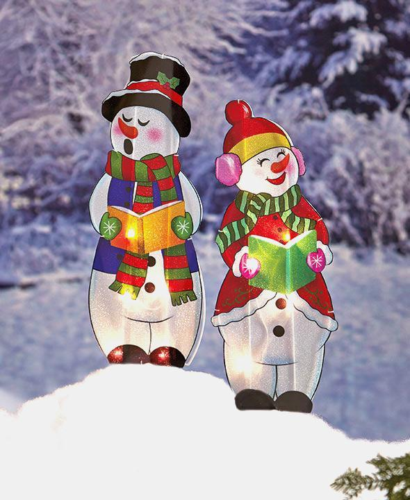 Christmas Caroler Yard Stakes: Adorable! Lighted Holographic Two Snowman Carolers
