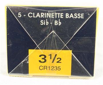 Vandoren CR1235 Bass Clarinet Reeds #3 1//2 Box 5