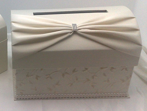 Wedding Gift Card Box Holder: Ivory Satin Wedding Reception Gift Card Box Holder