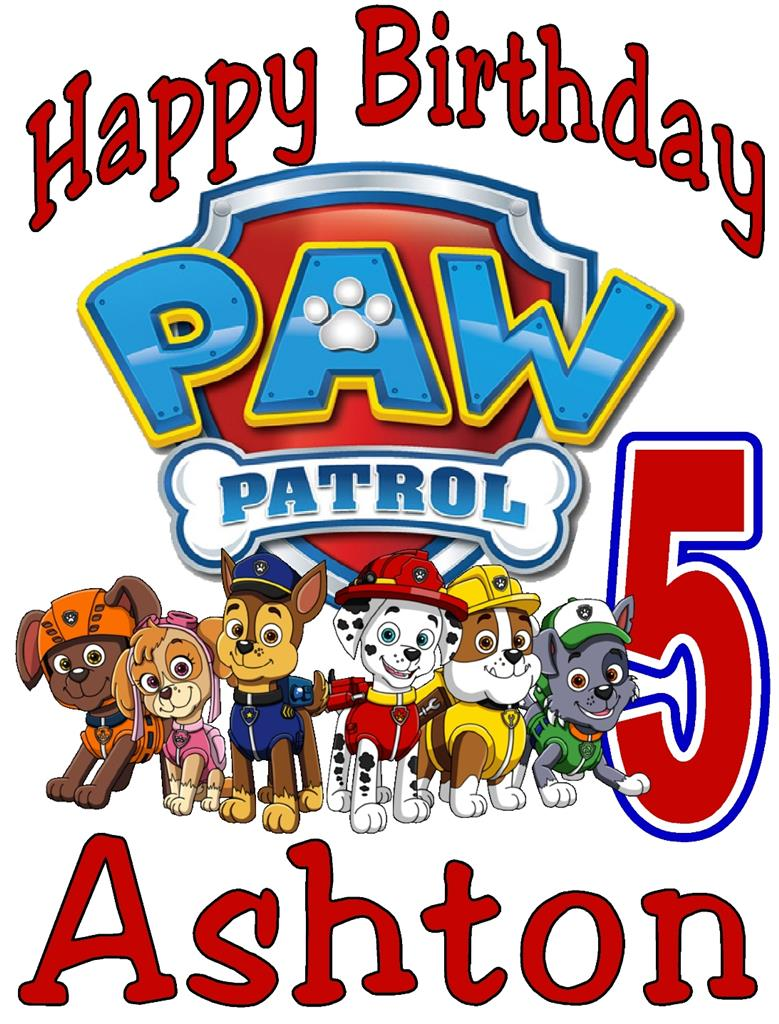 paw patrol birthday t shirt personalized any name  age 2t Paw Print Outline Clip Art Paw Print Border Clip Art