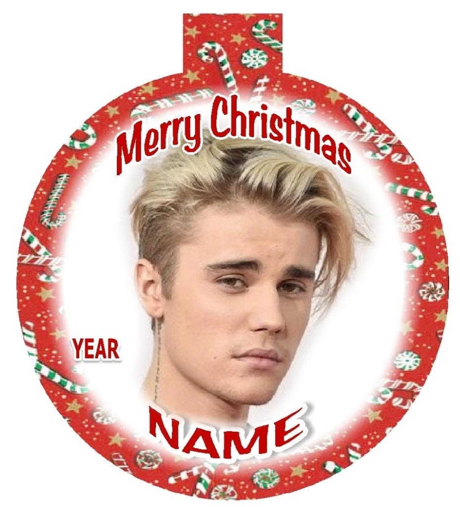 JUSTIN BIEBER Personalized Christmas Ornament #4 Any Name/Message ...