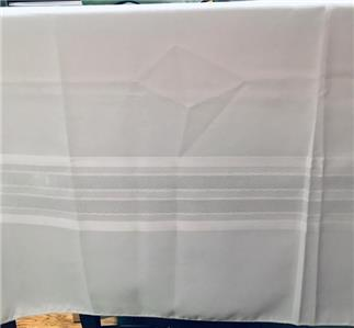 """Living Quarters White Fabric Tablecloth Cotton Polyester Oblong 60/"""" X 120"""" NIP"""