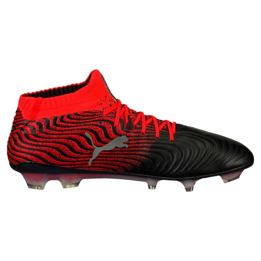 New Puma ONE 18.1 Syn FG Soccer Cleats Men s Size 7-13 Black Red ... b4040a39c