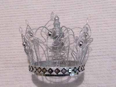 STUNNING SILVER GLITTERED CROWN XMAS TREE TOPPER~Shabby ...
