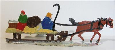 Vintage Hand Painted Heinrichsen Lead Figure Horse and Sleigh